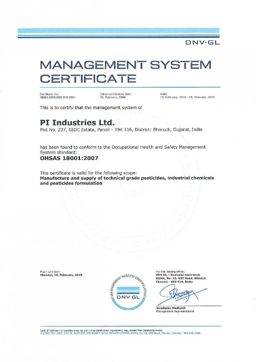 Pi Industries Recognition