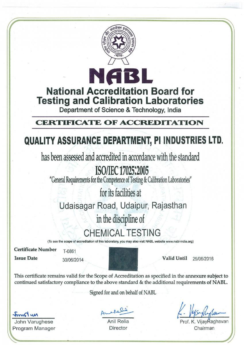 Pi industries recognition iso iec 17025 nabl certificate of accreditation udaipur13062014 yadclub Image collections